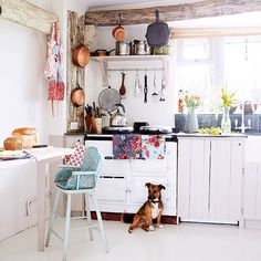 White beamed kitchen with Aga | Kitchen decorating | Country Homes Interiors | Housetohome.co.uk