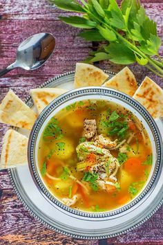 Sour (Lemon) Chicken Soup with Lovage -- an old Romanian tradition, totally different than your usual North American style Healthy Chicken Soup, Vegetarian Chicken, Chicken Soup Recipes, Healthy Soup, Healthy Recipes, Chilli Recipes, Recipe Chicken, Lemon Chicken, Romania Food
