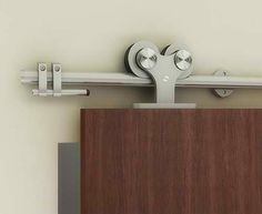 Contemporary Stainless Steel Sliding Barn Door Hardware for Wood Doors / Polished Chrome Finish - Matrix WT Series (7' Rail Length) Strongar Hardware http://www.amazon.com/dp/B00PZANNE0/ref=cm_sw_r_pi_dp_TPk0wb0V8QZ3B