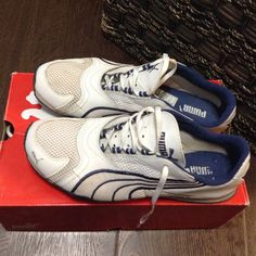 Puma Running Shoes White & blue Puma running shoes , excellent condition, only worn a few times. Puma Shoes Athletic Shoes