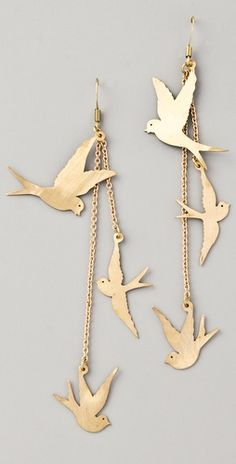 Gold dangle bird earrings