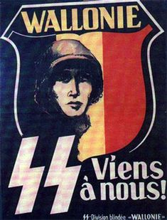 """German  WW2  """"Come with us""""  SS Panzer Division written in French to encourage Frenchmen to join up."""