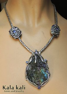 Purple Carved Peacock Labradorite Flowers Violet by KalaKali, €1400.00
