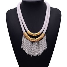XG067 New Design2015 Wholesale Women Multilayer Chain Tassel Bib False 5 Colors Rope Collar Necklace Statement Necklace