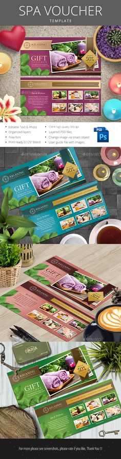 Spa Voucher Template PSD #design Download: http://graphicriver.net/item/spa-voucher/14221571?ref=ksioks