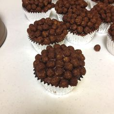 Puppy or dog birthday party for kids  Cupcakes using cocoa puffs the kids loved them!!