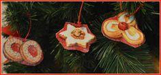 Decoupaged Christmas tree ornaments