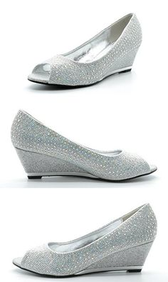 SASSY SEXY VOGUE-2 Women's Sophisticated Open Toe Rhinestones Embelishment Wedge Pump New, VOGUE-2-SILVER, 8.5 B(M) US