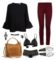 A fashion look from May 2017 featuring Ganni, red jeans and boy shorts panties. Browse and shop related looks. Burgundy Jeans Outfit, Silver Loafers, Olivia Burton, Winter Wardrobe, Jean Outfits, What To Wear, Shoe Bag, Kendra Scott, Rebecca Minkoff