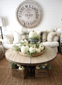 Friday Favourites: Fall Inspirations - I love how accessories were added to decorate for fall with the pumpkins and pillows