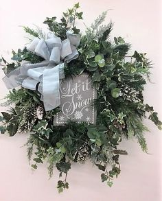 Silver and Snow Silk Floral Transitional Winter Silk Front Door Wreath with Let it Snow Plaque/Winter Wreath/Winter Decor/ Ready to Ship Christmas Door Wreaths, Holiday Wreaths, Christmas Decorations, Winter Wreaths, Spring Wreaths, Summer Wreath, Prim Christmas, Winter Christmas, Christmas Time