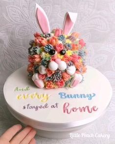Little Peach Cakery Fondant Flower Cake, Buttercream Flowers, Cupcake Cakes, Fondant Baby, Fondant Cakes, Easter Bunny Cake, Easter Cupcakes, Bunny Cakes, Rabbit Cake