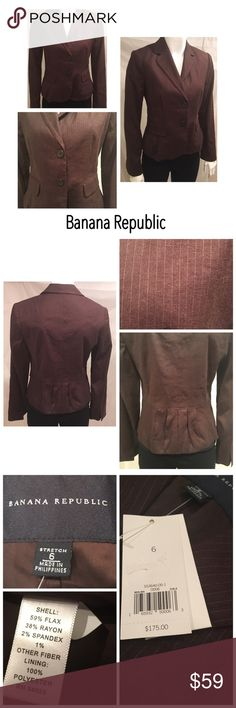 🍁NWT Banana Republic Blazer Size 6🍁 NWT Banana Republic Pinstripe Fitted Blazer Suit Jacket Brown Size 6 original price $175.00 
