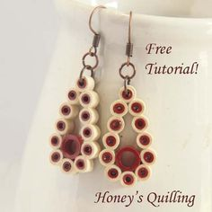 Free tutorial - make these teardrop paper quilling earrings in any color! - Honey's Quilling