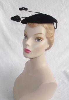 1950's Vintage Black Velvet Cocktail Hat with by MyVintageHatShop
