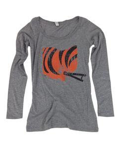 be49094d5 This on a sweatshirt or white shirt would be perfect. Ladies  Cincy Ohio  Helmet Long Sleeve Scoop Neck - Black Orange – Be Ohio Proud