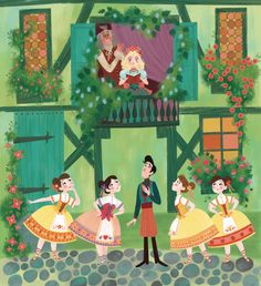 Brigette Barrager illustration for Saviour Pirotta's Ballet Stories for Young Children (Orchard Books, 2016). Franz sees Coppelia on Dr. Coppelius' balcony.