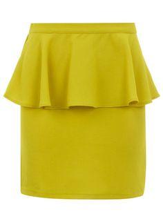 {yellow creped peplum skirt}
