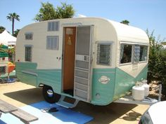 Beautiful Turquoise Trailer - vintage camping