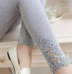 PINkart-USA Online Shopping Gray auger / One Size Spring Autumn Thin Women Cotton Knitted Short Leggings Hollow Out Lace Diamond Print Flower Thin Gothic Leggings, Lace Leggings, Cotton Leggings, Floral Leggings, Printed Leggings, Cheap Leggings, Leggings Store, Tights, Leggings Fashion