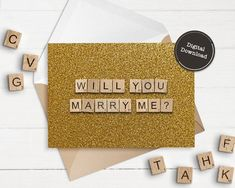 Will You Marry Me Printable Greeting Card Glitter Gold | Etsy Scrabble Tile Art, Scrabble Letters, Printable Cards, Printables, Scrabble Wedding, Happy Birthday Printable, Funny Inspirational Quotes, Announcement Cards, Mom Birthday