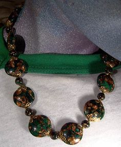 MURANO Emerald Green & GOLD Glass Necklace 1940s-50s NOS