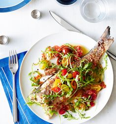 Branzino With Herbs, Tomatoes and Thai Chilies by Tyson Cole, wsj #Fish #Herbs #Tomatoes