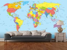 Colourful vintage map wall mural wall murals vintage maps and colourful world map wall mural room setting gumiabroncs Image collections