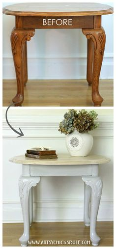Coastal End Table Makeover (GF Chalk Style Paint) 2019 Coastal Styled Table with General Finishes Chalk Style Paint bef and aft The post Coastal End Table Makeover (GF Chalk Style Paint) 2019 appeared first on Furniture ideas. Refurbished Furniture, Paint Furniture, Repurposed Furniture, Furniture Projects, Furniture Making, Furniture Makeover, Furniture Design, Furniture Plans, Homemade Furniture