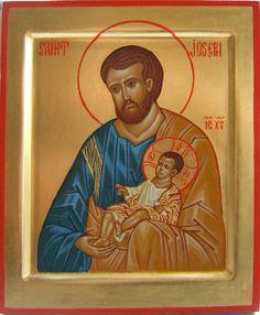 2012 Icône de saint Joseph et l'Emmanuel / Saint Joseph and the Emmanuel Icon (main de / hand of : soeur Jeannine Lebrun, rhsj) by Périchorè...