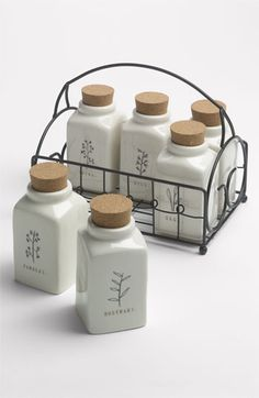 Rae Dunn by Magenta Herb Jars & Wire Caddy