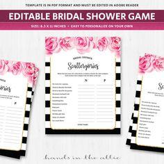 bridal scattergories categories game deep pink fuschia flowers florals topics worksheet template qu bride shower