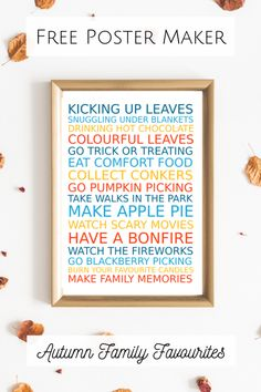 Make a Free Personalised Autumn Family Favourites Poster – Finance tips, saving money, budgeting planner Easy Homemade Gifts, Homemade Christmas Gifts, Savings Planner, Budget Planner, Free Poster Maker, Frugal Family, Frugal Living, Frugal Tips, Family Traditions