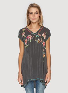 Johnny Was Clothing Embroidered Carmen Tunic in Iron Steel Grey
