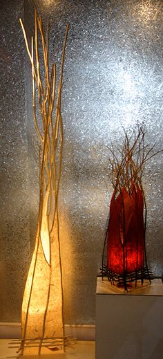 Sculptural Lighting by Suzanne Derrer at The Jett Gallery in Santa Fe, NM.  I own a red floor lamp!  :)