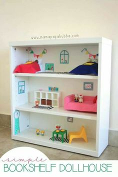 Great idea for a bookshelf doll house. Might have to do it on the lower part of the shelf.