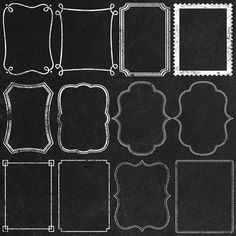 Chalkboard Frames and Page Borders - Clipart - Instant Download - 24 Transparent PNG Files plus EPS file