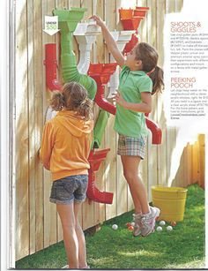I saw this in the Spring 2012 Lowe's How cute is this? Creative Ideas magazine - fun outdoor activity for kids using rain gutters and some paint.