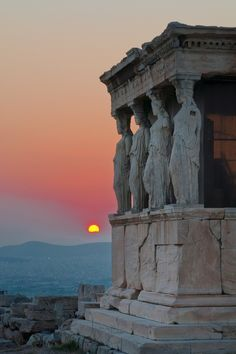"""Porch of the Maidens"" The Porch of the Caryatids from the Erectheion, at the Acropolis in Athens, Greece. Built in the Classical Period.  http://en.wikipedia.org/wiki/Erechtheion"