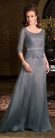 7570d963845 Online Shop Vestido Mae Da Noiva Plus Size Scoop Neck Sleeves Chiffon Lace  Gray 2015 Mother Of The Bride Dresses