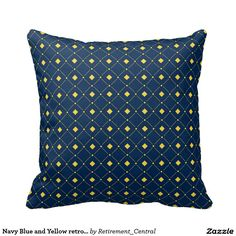 Navy Blue and Yellow retro Squares, Diamonds Throw Pillows