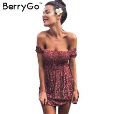 Find More Dresses Information about BerryGo Sexy off shoulder print summer dress Vintage high waist beach dress 2016 Elegant fit and flare short girls dresses women,High Quality dresses for short girls,China dress zip Suppliers, Cheap dress bottom from BerryGo