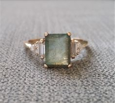"Version Antique Labradorite Moissanite Diamond Engagement Ring Emerald Cut Baguette Classic Rose Gold PenelliBelle Rustic ""The Margo"" - engagement rings Emerald Cut Diamond Engagement Ring, Antique Engagement Rings, Engagement Ring Settings, Solitaire Engagement, Rustic Engagement Rings, Antique Wedding Bands, Selling Handmade Items, Moissanite Diamonds, Diamond Engagement Rings"