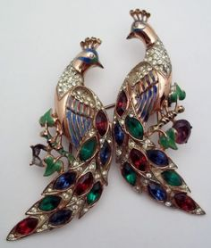 Vintage-CORO-CRAFT-Duette-Sterling-Silver-PEACOCKS-Brooch-Pin-Set-Rare