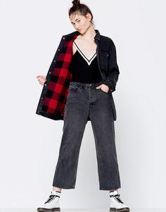 Pull&Bear - kadın - giyim - kabanlar ve ceketler - oversize denim mont - siyah - 09710340-I2016