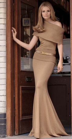 Full length knit dress by Michael Kors-love the off shoulder oversized cowl top.