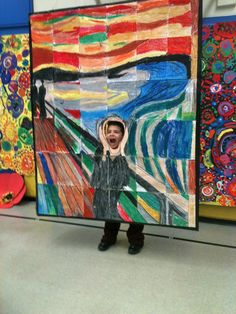 Edvard Munch, The Scream mural made by my 3rd and 4th graders. Idea borrowed from http://www.artprojectsforkids.org/  hummm....