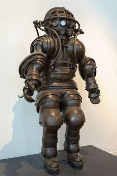 Atmospheric diving suit, built by Alphonse and Théodore Carmagnolle in 1882. Currently viewable at the 'Musée National de la Marine' in Paris.