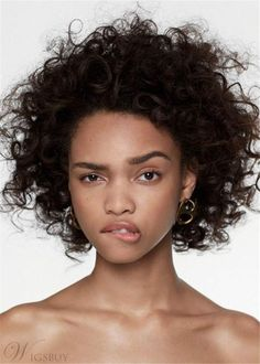 Afro Curly Medium African American Synthetic Hair Capless Women Wig 14 Inches - People Photos - Ideas of People Photos - Pretty People, Beautiful People, Curly Hair Styles, Natural Hair Styles, Natural Curls, Expressions Photography, People Poses, Female Character Inspiration, Face Expressions