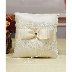 French Lace Ring Pillow in Ivory or White
